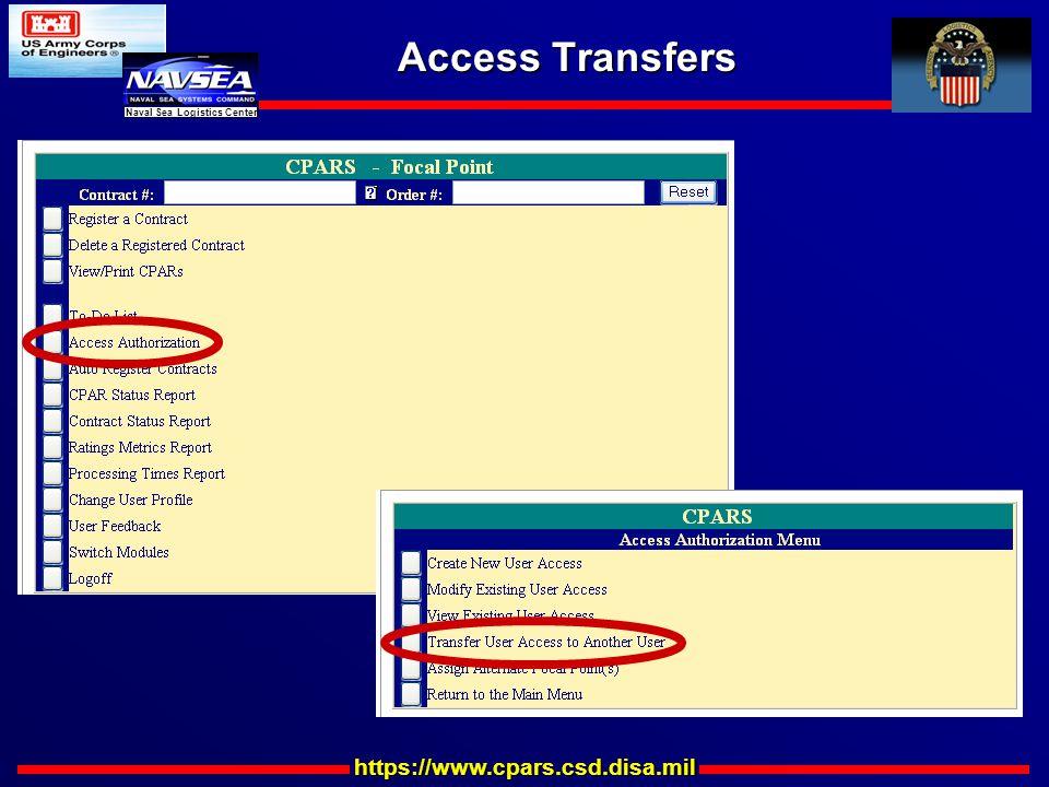 https://www.cpars.csd.disa.mil Naval Sea Logistics Center Access Transfers