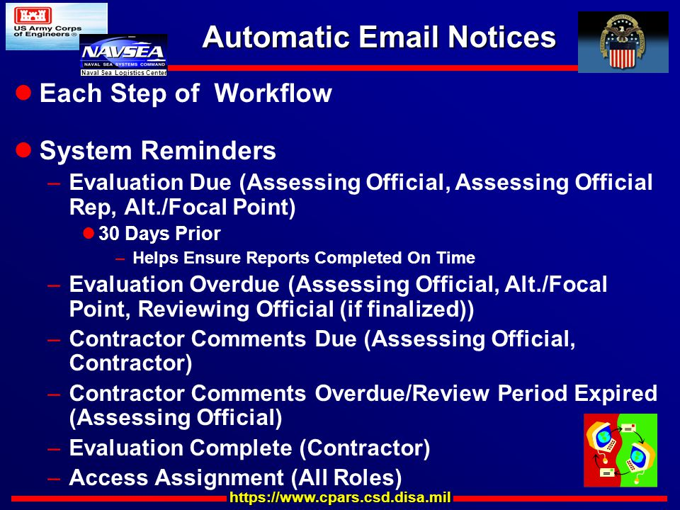 https://www.cpars.csd.disa.mil Naval Sea Logistics Center Automatic Email Notices Each Step of Workflow System Reminders –Evaluation Due (Assessing Official, Assessing Official Rep, Alt./Focal Point) 30 Days Prior –Helps Ensure Reports Completed On Time –Evaluation Overdue (Assessing Official, Alt./Focal Point, Reviewing Official (if finalized)) –Contractor Comments Due (Assessing Official, Contractor) –Contractor Comments Overdue/Review Period Expired (Assessing Official) –Evaluation Complete (Contractor) –Access Assignment (All Roles)