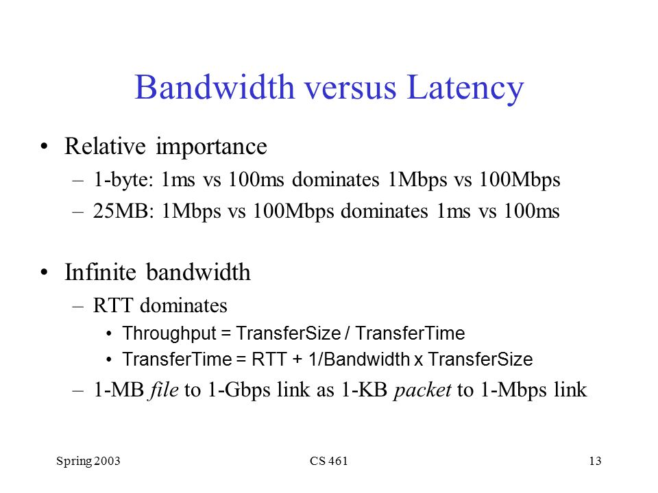 Spring 2003CS 46113 Bandwidth versus Latency Relative importance –1-byte: 1ms vs 100ms dominates 1Mbps vs 100Mbps –25MB: 1Mbps vs 100Mbps dominates 1ms vs 100ms Infinite bandwidth –RTT dominates Throughput = TransferSize / TransferTime TransferTime = RTT + 1/Bandwidth x TransferSize –1-MB file to 1-Gbps link as 1-KB packet to 1-Mbps link