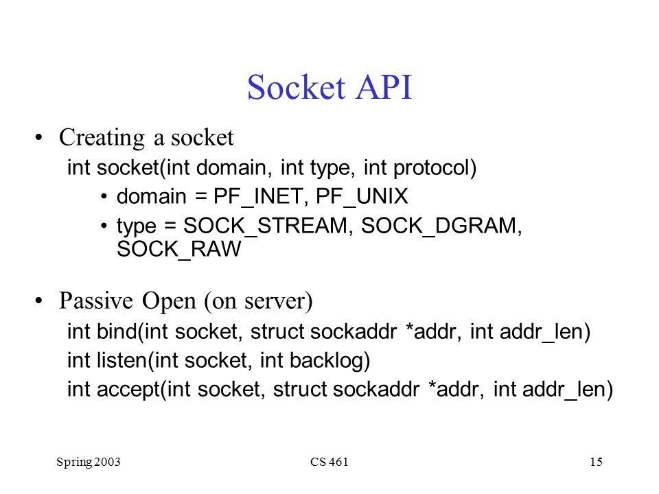 Spring 2003CS 46115 Socket API Creating a socket int socket(int domain, int type, int protocol) domain = PF_INET, PF_UNIX type = SOCK_STREAM, SOCK_DGRAM, SOCK_RAW Passive Open (on server) int bind(int socket, struct sockaddr *addr, int addr_len) int listen(int socket, int backlog) int accept(int socket, struct sockaddr *addr, int addr_len)
