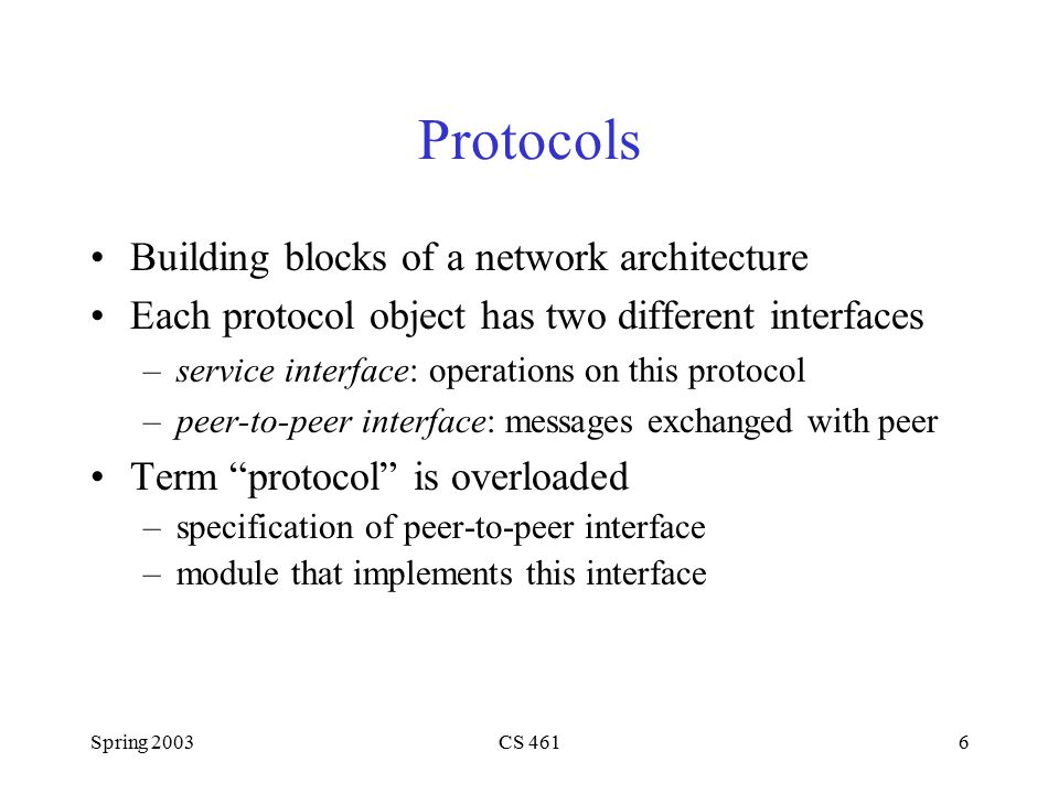 Spring 2003CS 46117 Protocol-to-Protocol Interface Configure multiple layers –static versus extensible Process Model –avoid context switches Buffer Model –avoid data copies