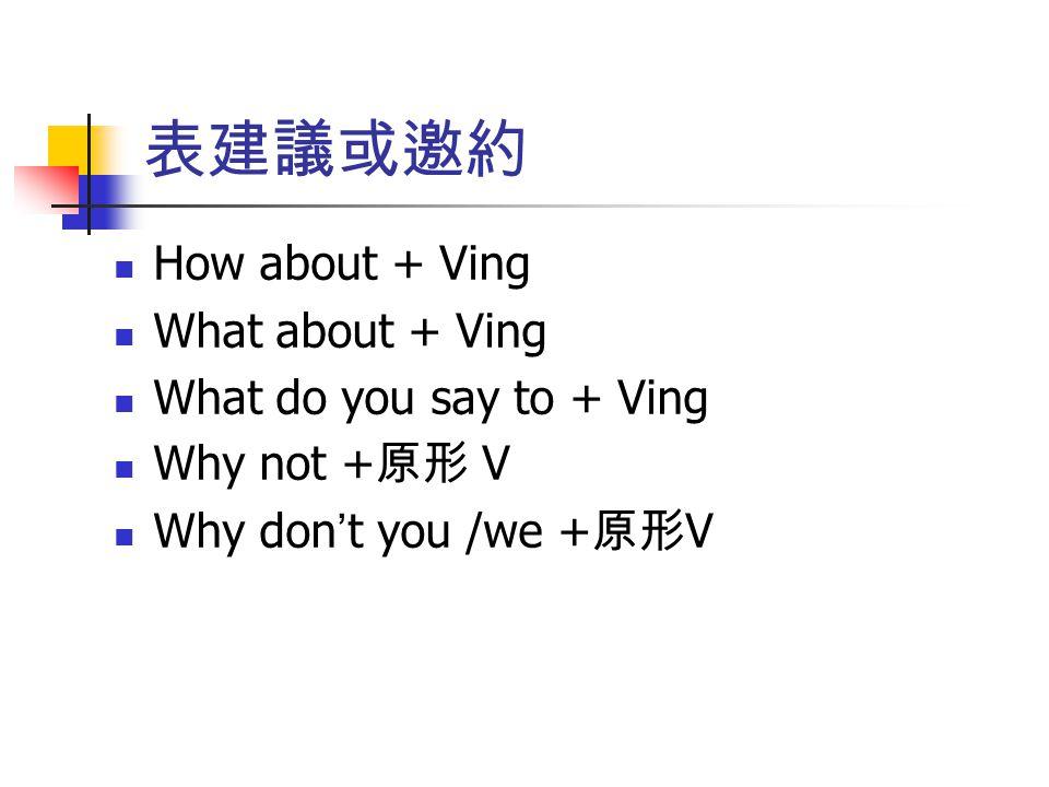 表建議或邀約 How about + Ving What about + Ving What do you say to + Ving Why not + 原形 V Why don ' t you /we + 原形 V