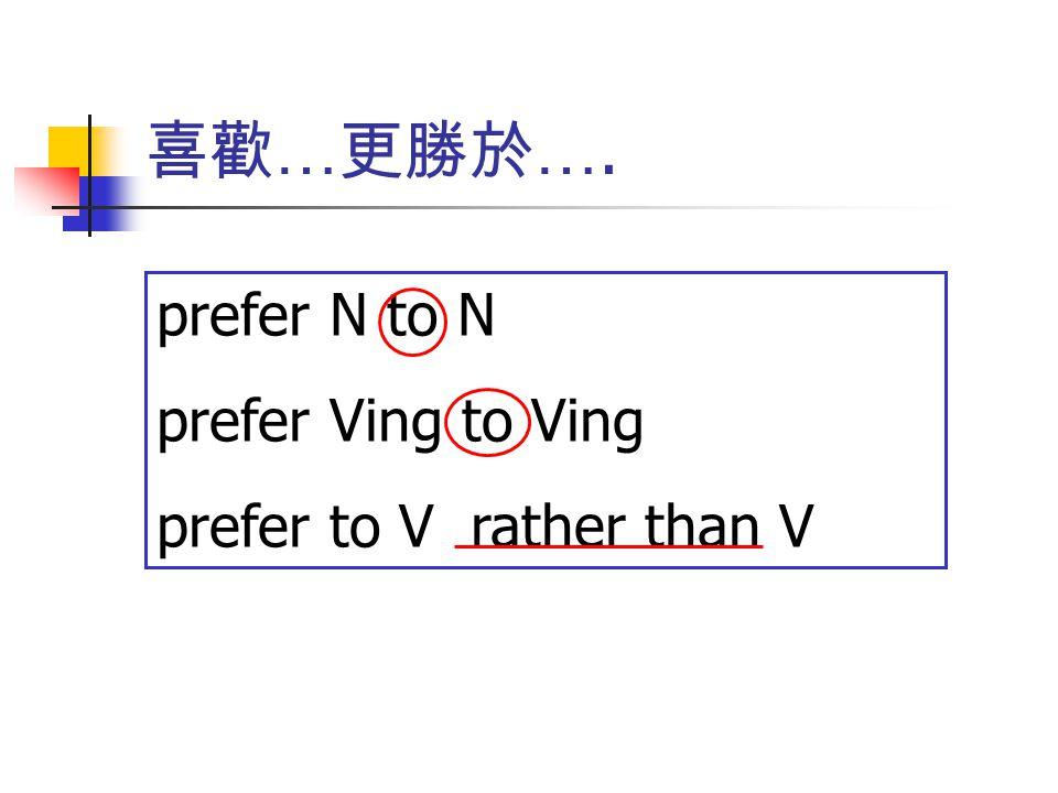 喜歡 … 更勝於 …. prefer N to N prefer Ving to Ving prefer to V rather than V