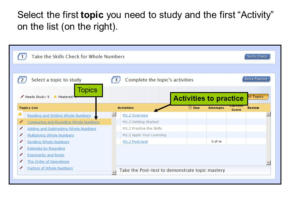 Topics Activities to practice Select the first topic you need to study and the first Activity on the list (on the right).