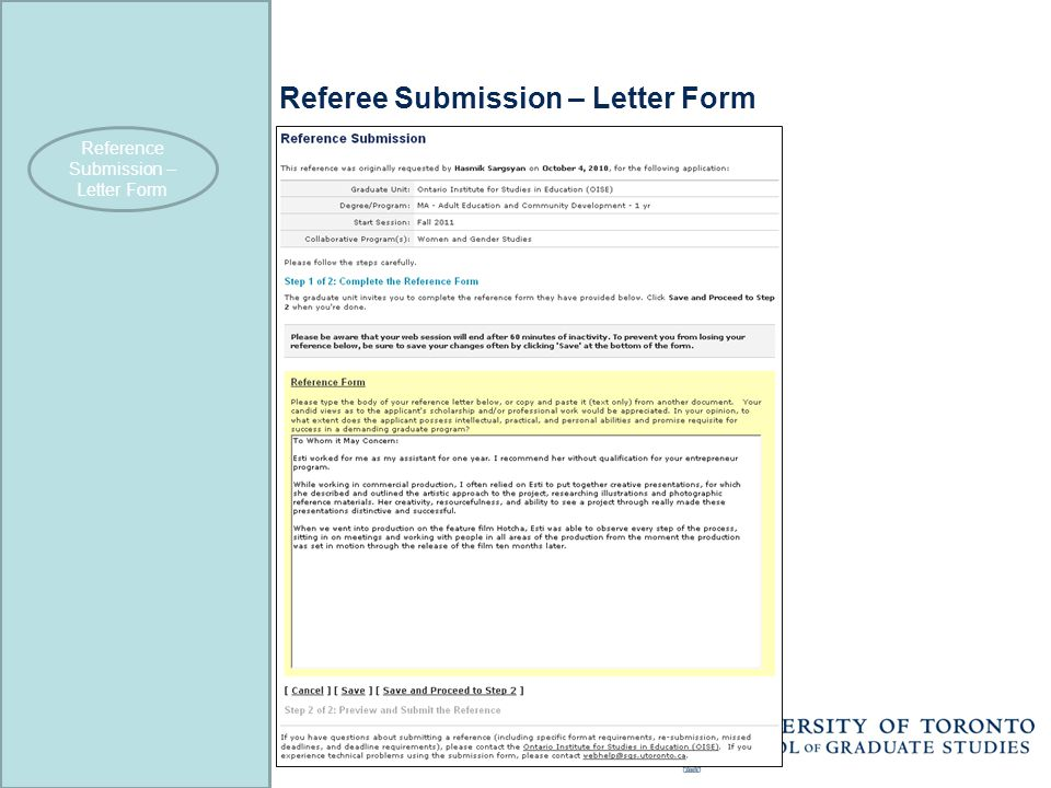 Referee Submission – Letter Form Reference Submission – Letter Form