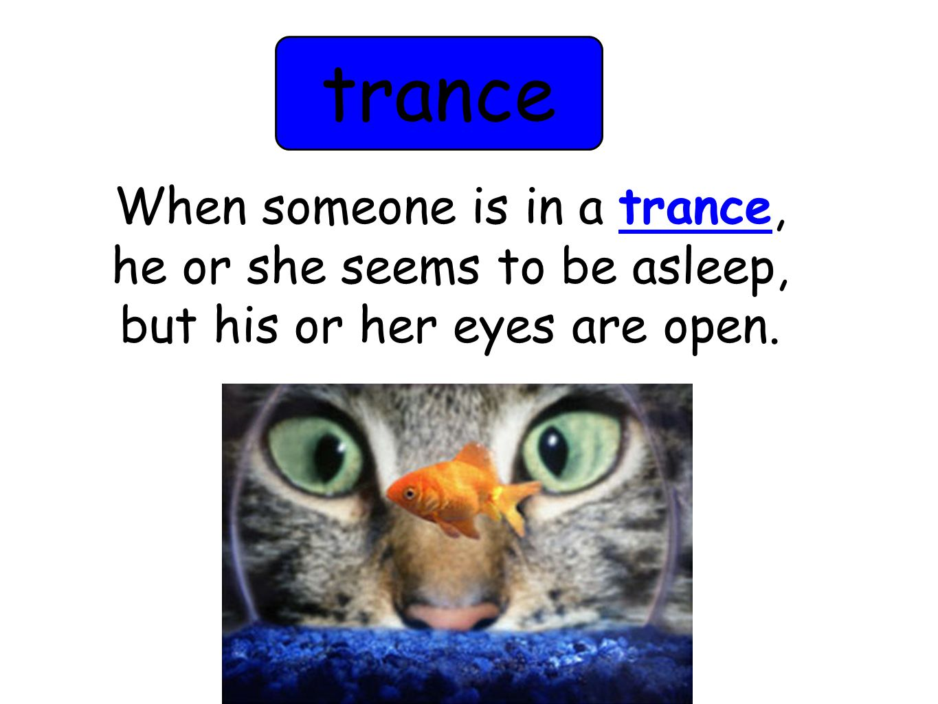 trance When someone is in a trance, he or she seems to be asleep, but his or her eyes are open.