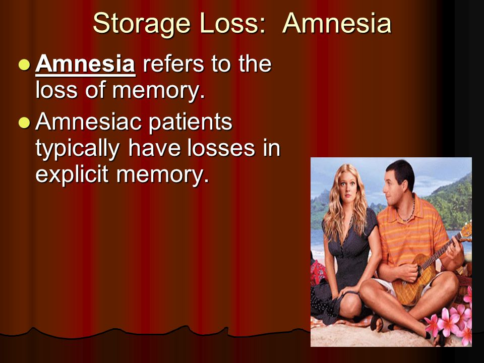 Storage Loss: Amnesia Amnesia refers to the loss of memory.