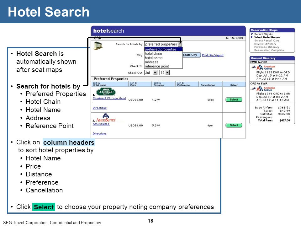 SEG Travel Corporation, Confidential and Proprietary 18 Hotel Search is automatically shown after seat maps Hotel Search Click on to sort hotel properties by Hotel Name Price Distance Preference Cancellation column headers Click to choose your property noting company preferences Select Search for hotels by Preferred Properties Hotel Chain Hotel Name Address Reference Point