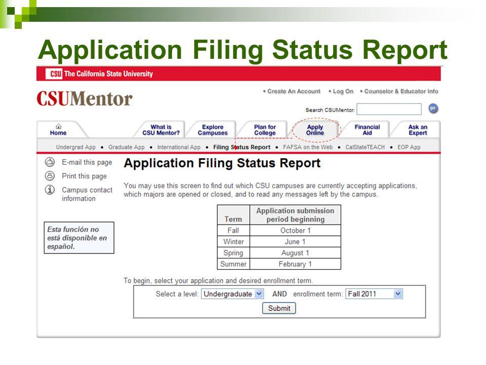 Application Filing Status Report