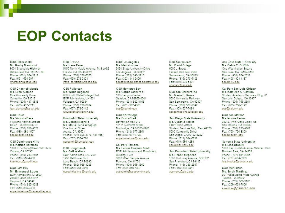 EOP Contacts CSU Bakersfield Mr. Rocky Maraccini 9001 Stockdale Highway Bakersfield, CA 93311-1099 Phone: (661) 654-3219 Fax: (661) 654-6971 rmaraccin