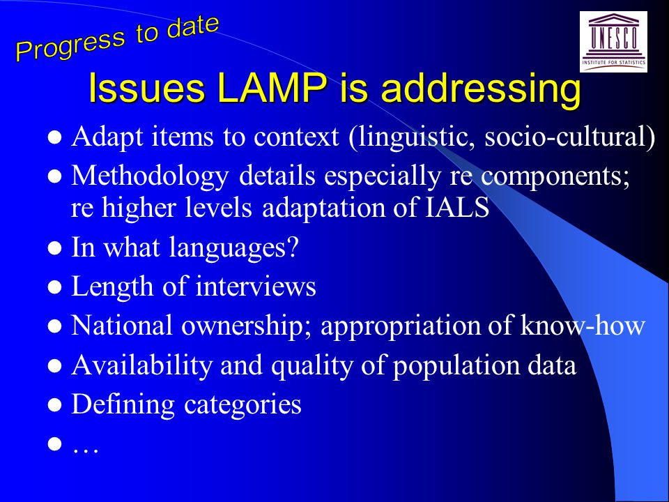 Issues LAMP is addressing Adapt items to context (linguistic, socio-cultural) Methodology details especially re components; re higher levels adaptation of IALS In what languages.