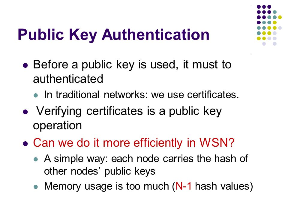 Public Key Authentication Before a public key is used, it must to authenticated In traditional networks: we use certificates.
