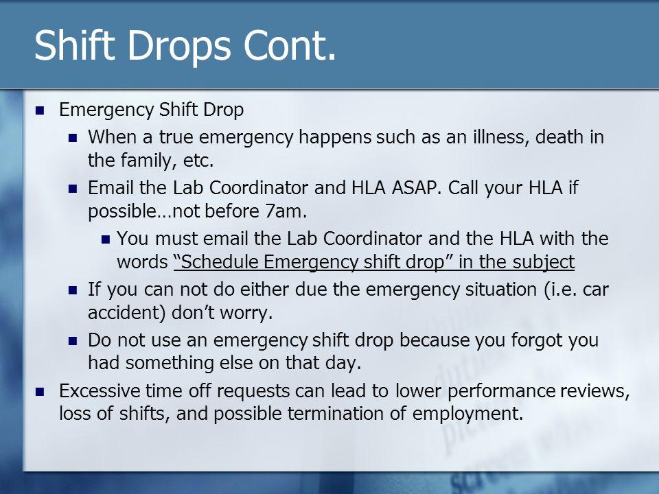 Shift Drops Cont.