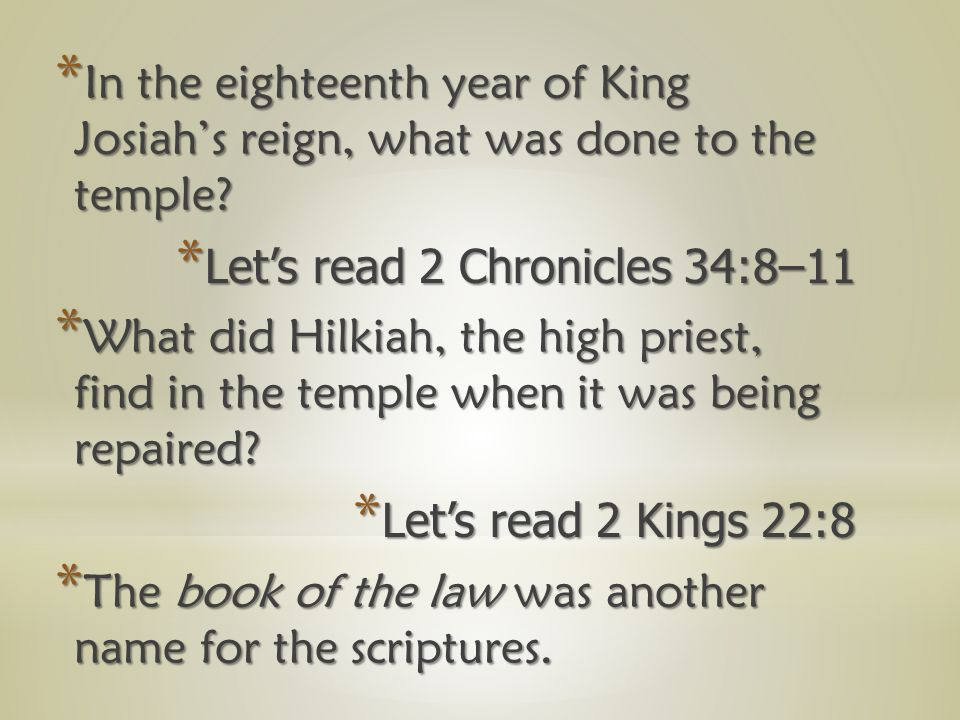 *W*W*W*What kind of person was King Josiah.