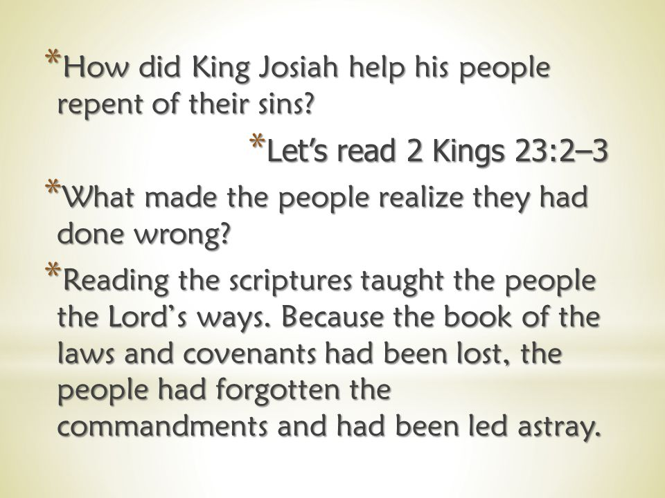 *H*H*H*How had the people shown they had forgotten the Lord's laws.