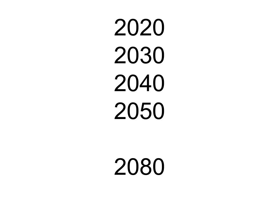 2020 2030 2040 2050 2080
