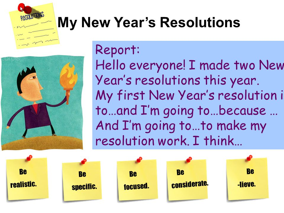 My New Year's Resolutions Report: Hello everyone. I made two New Year's resolutions this year.