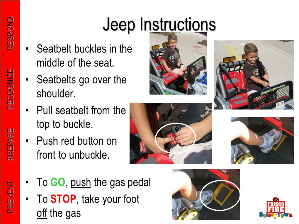 PREVENT PREPARE RECOGNIZE RESPOND Jeep Instructions Seatbelt buckles in the middle of the seat. Seatbelts go over the shoulder. Pull seatbelt from the