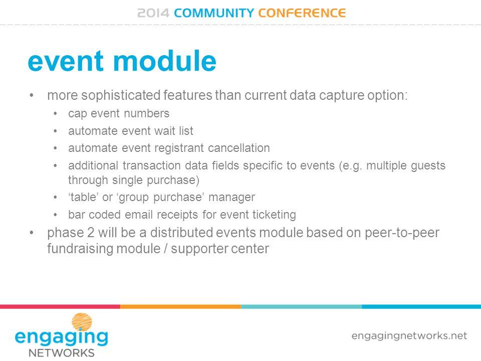 event module more sophisticated features than current data capture option: cap event numbers automate event wait list automate event registrant cancel