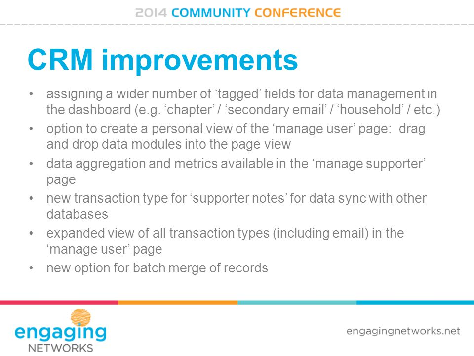 CRM improvements assigning a wider number of 'tagged' fields for data management in the dashboard (e.g.