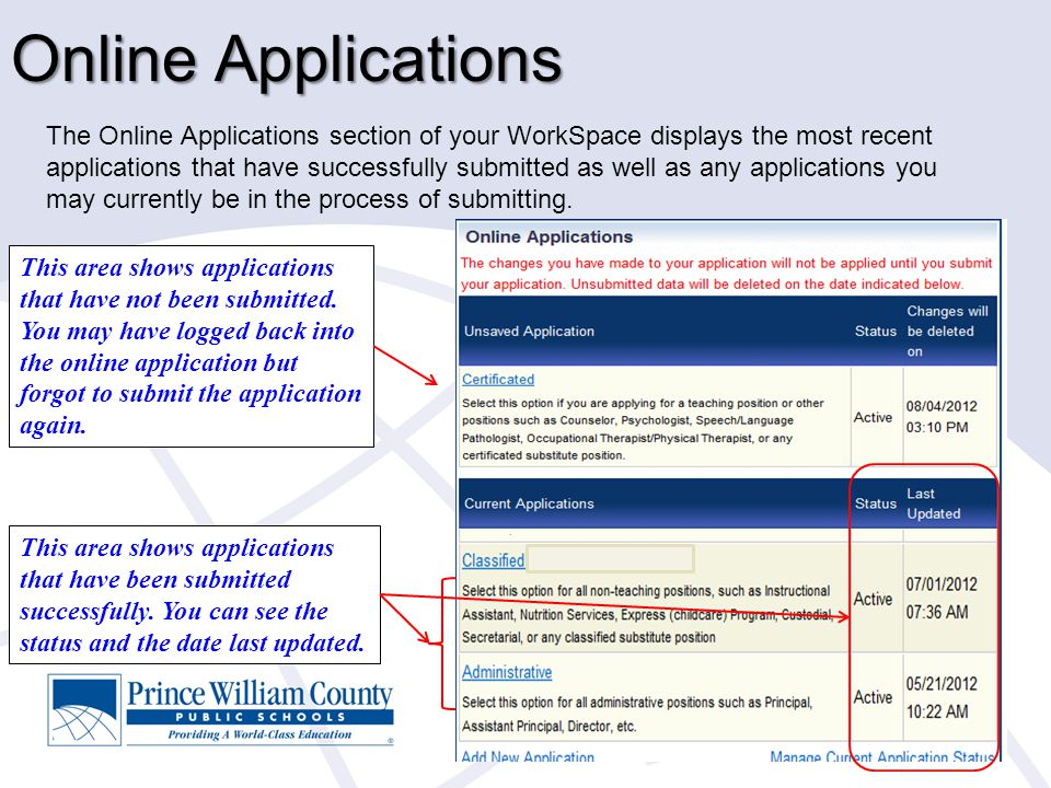 Online Applications The Online Applications section of your WorkSpace displays the most recent applications that have successfully submitted as well a