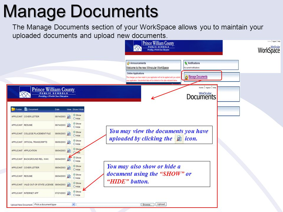 Manage Documents To upload documents, please select the document type and click the browse button below to find the file on your computer.