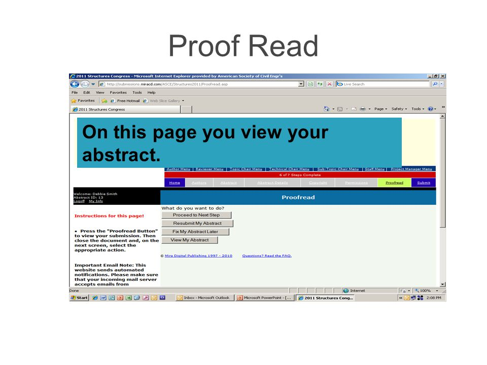 Proof Read On this page you view your abstract.