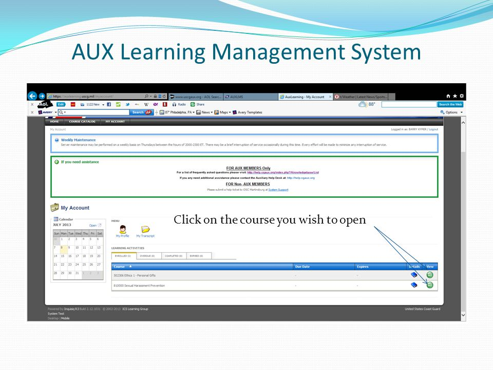 AUX Learning Management System Click on the course you wish to open