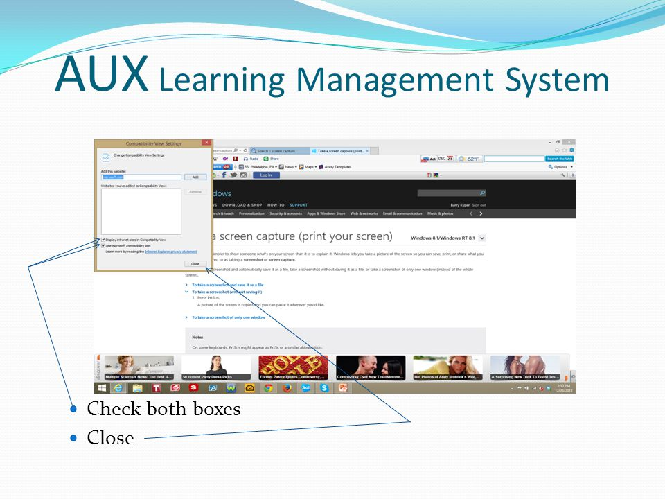 AUX Learning Management System Check both boxes Close