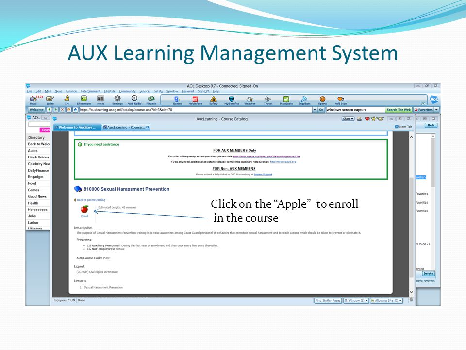 AUX Learning Management System Click on the Apple to enroll in the course