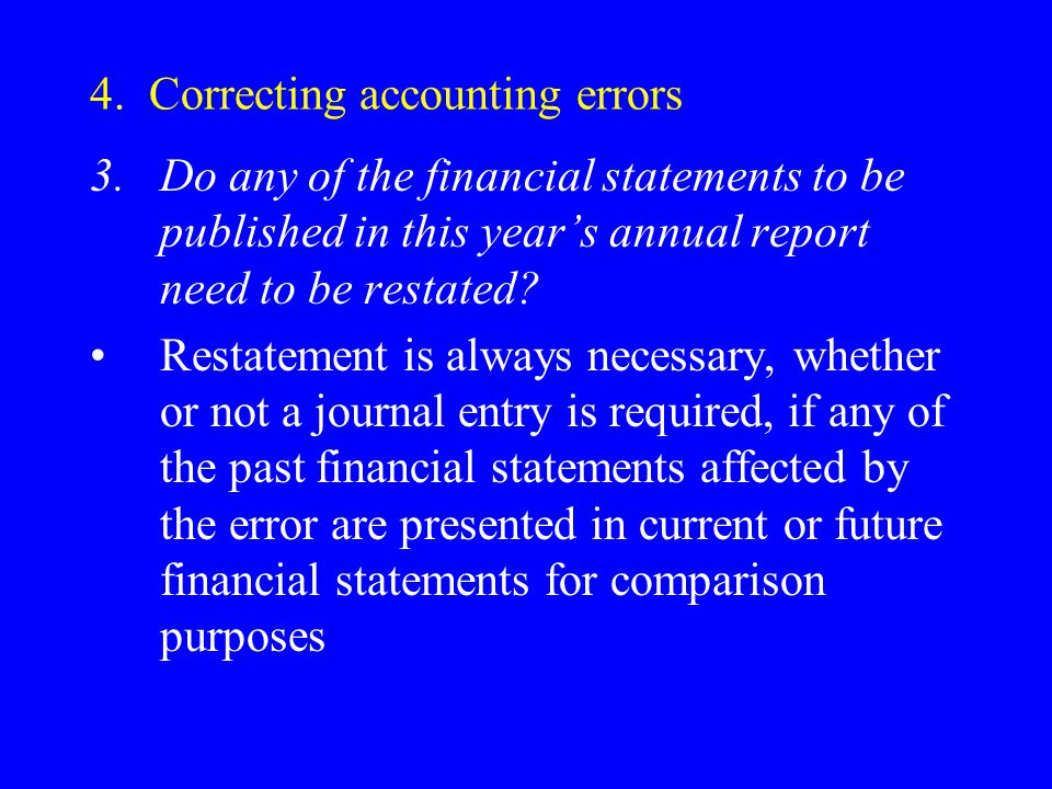 4. Correcting accounting errors 3.Do any of the financial statements to be published in this year's annual report need to be restated? Restatement is