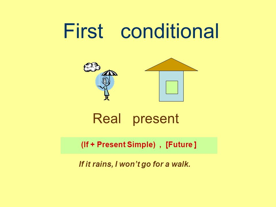 First conditional Real present (If + Present Simple), [Future ] If it rains, I won't go for a walk.