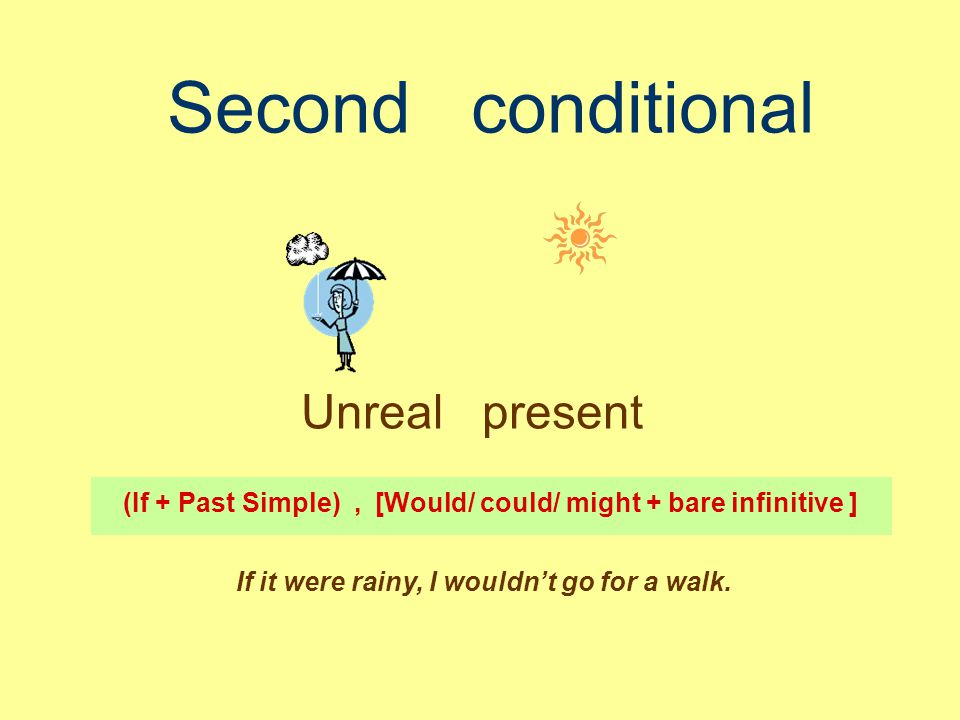 Second conditional Unreal present (If + Past Simple), [Would/ could/ might + bare infinitive ] If it were rainy, I wouldn't go for a walk.