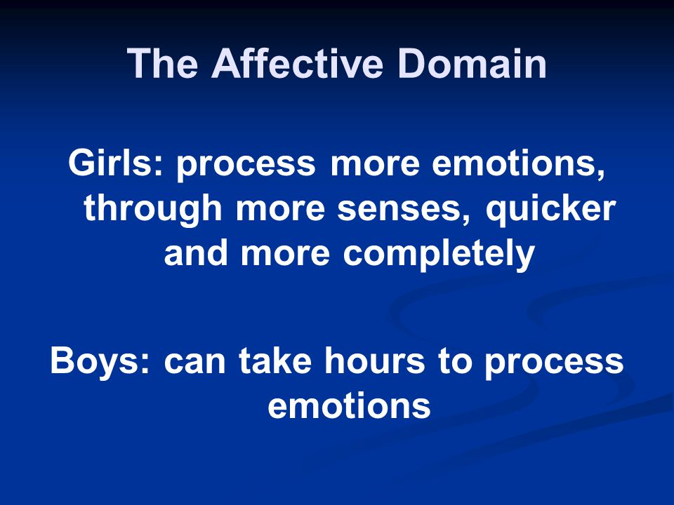 The Affective Domain Girls: process more emotions, through more senses, quicker and more completely Boys: can take hours to process emotions