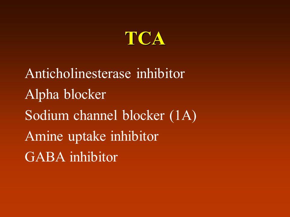 TCA Anticholinesterase inhibitor Alpha blocker Sodium channel blocker (1A) Amine uptake inhibitor GABA inhibitor