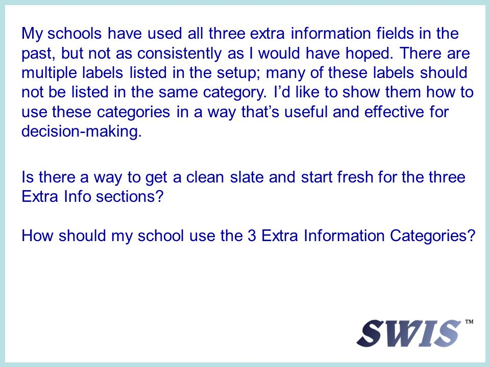 My schools have used all three extra information fields in the past, but not as consistently as I would have hoped.