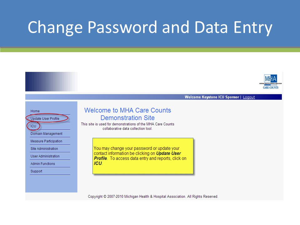 Change Password and Data Entry