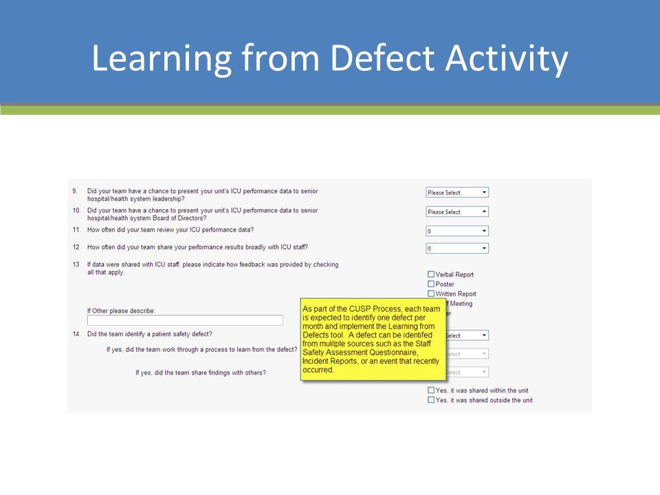 Learning from Defect Activity