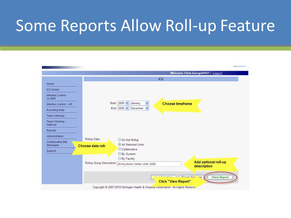 Some Reports Allow Roll-up Feature