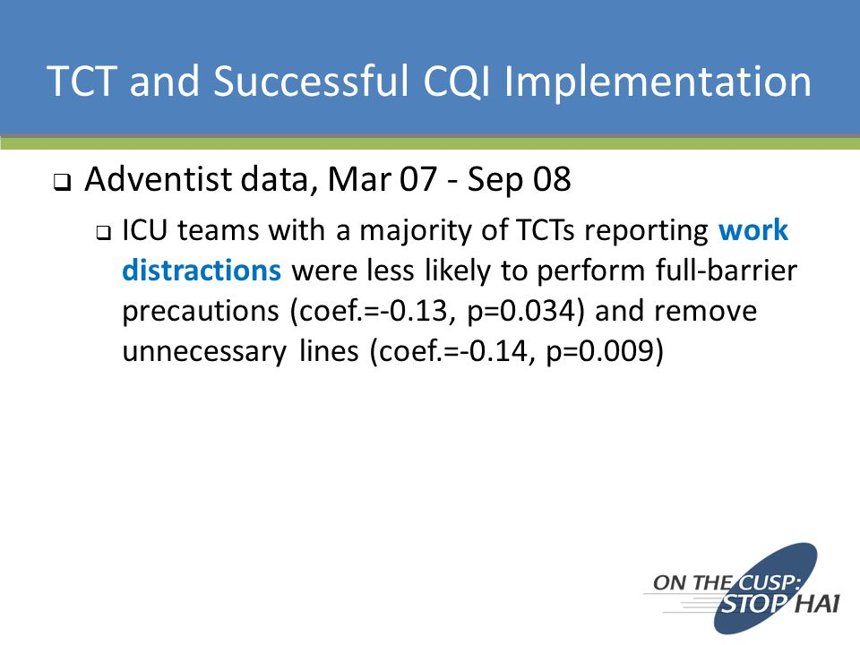 TCT and Successful CQI Implementation  Adventist data, Mar 07 - Sep 08  ICU teams with a majority of TCTs reporting work distractions were less like