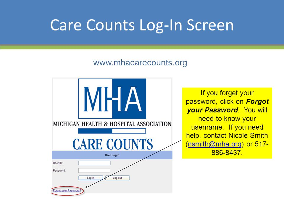 Care Counts Log-In Screen www.mhacarecounts.org If you forget your password, click on Forgot your Password. You will need to know your username. If yo