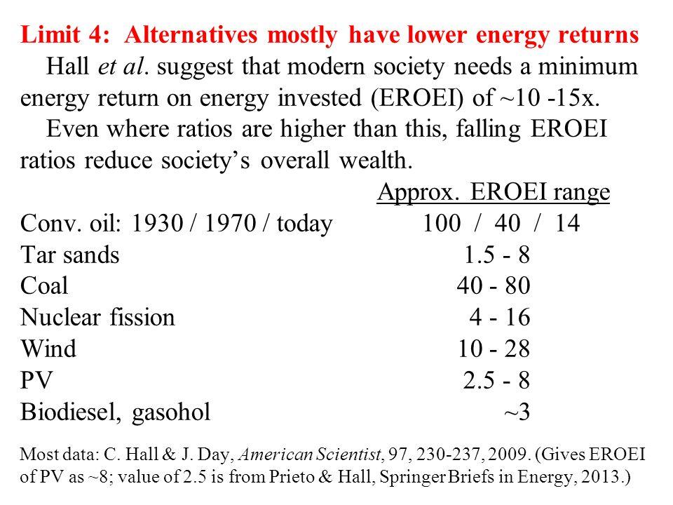Limit 4: Alternatives mostly have lower energy returns Hall et al.