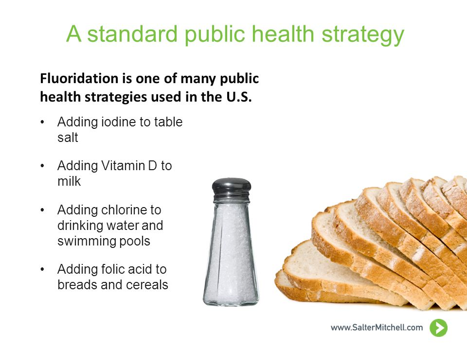 A standard public health strategy Adding iodine to table salt Adding Vitamin D to milk Adding chlorine to drinking water and swimming pools Adding folic acid to breads and cereals Fluoridation is one of many public health strategies used in the U.S.