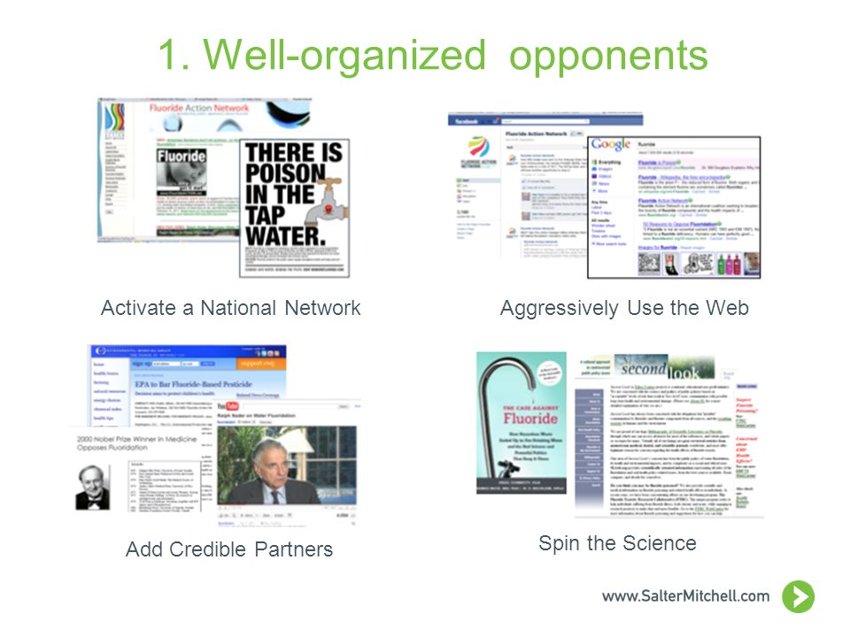 1. Well-organized opponents Aggressively Use the WebActivate a National Network Add Credible Partners Spin the Science