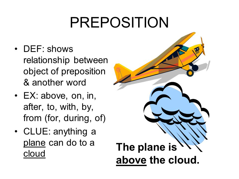 PREPOSITION DEF: shows relationship between object of preposition & another word EX: above, on, in, after, to, with, by, from (for, during, of) CLUE: anything a plane can do to a cloud The plane is above the cloud.