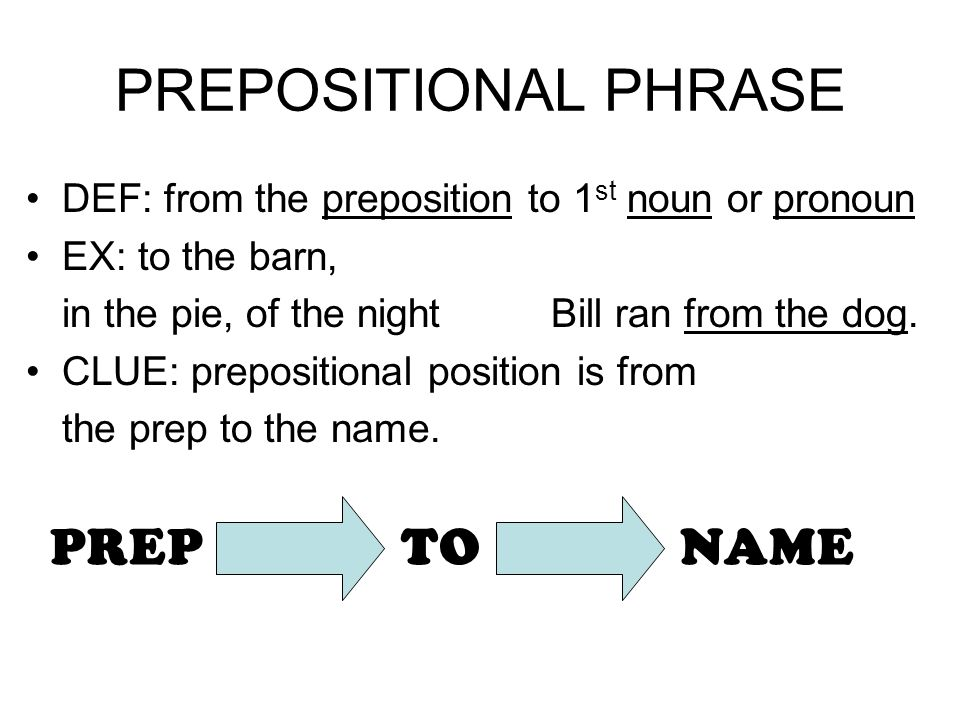 PREPOSITIONAL PHRASE DEF: from the preposition to 1 st noun or pronoun EX: to the barn, in the pie, of the night Bill ran from the dog. CLUE: preposit