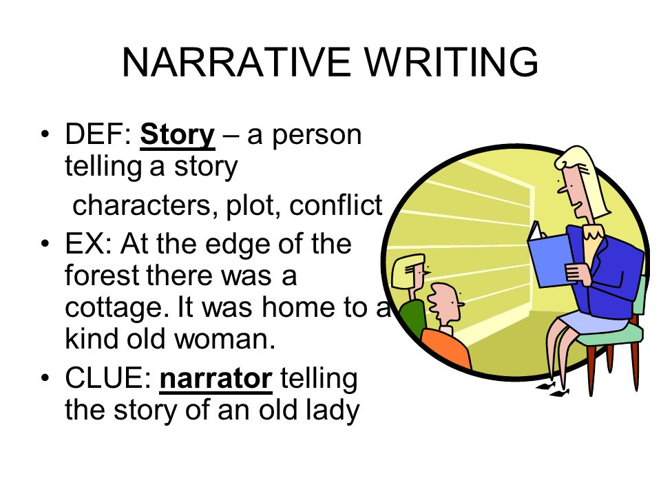 NARRATIVE WRITING DEF: Story – a person telling a story characters, plot, conflict EX: At the edge of the forest there was a cottage. It was home to a