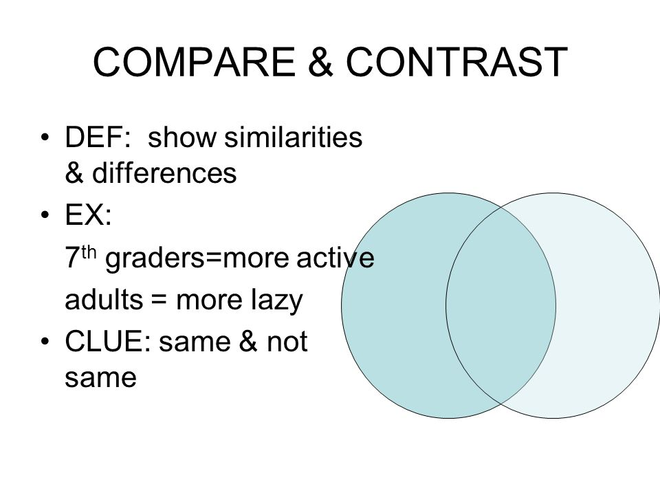 COMPARE & CONTRAST DEF: show similarities & differences EX: 7 th graders=more active adults = more lazy CLUE: same & not same
