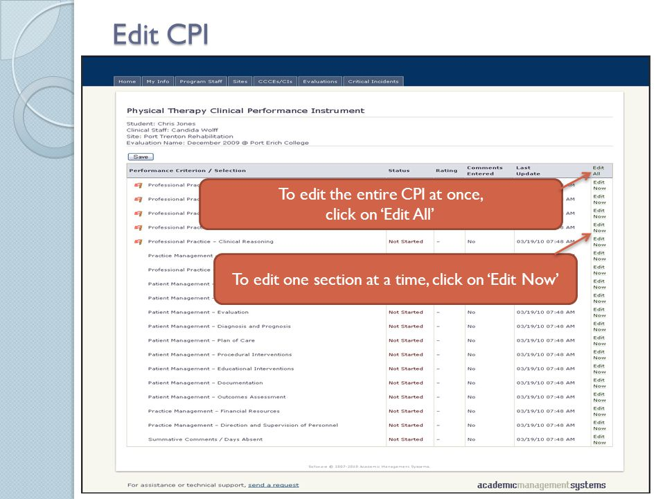 Edit CPI To edit the entire CPI at once, click on 'Edit All' To edit one section at a time, click on 'Edit Now'