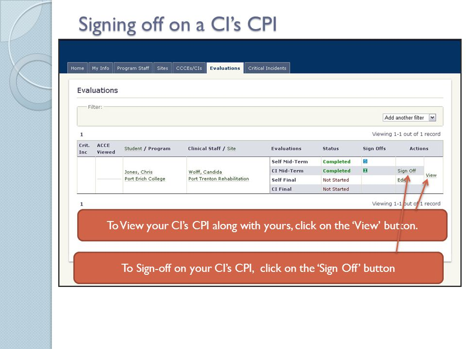 Signing off on a CI's CPI To View your CI's CPI along with yours, click on the 'View' button.